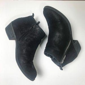 Black distressed faux suede zip up booties